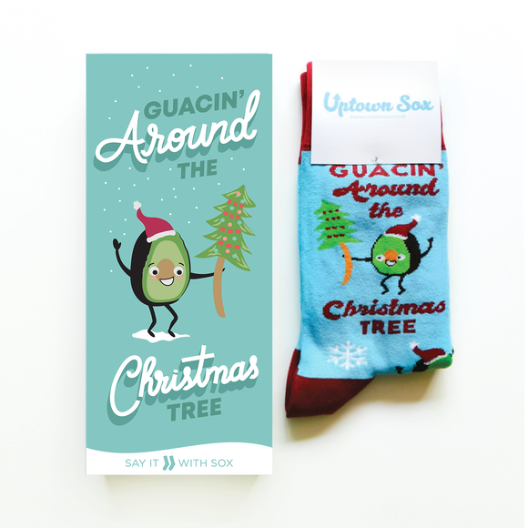 Guacin' Around The Christmas Tree Card & Socks - Flamingo Boutique