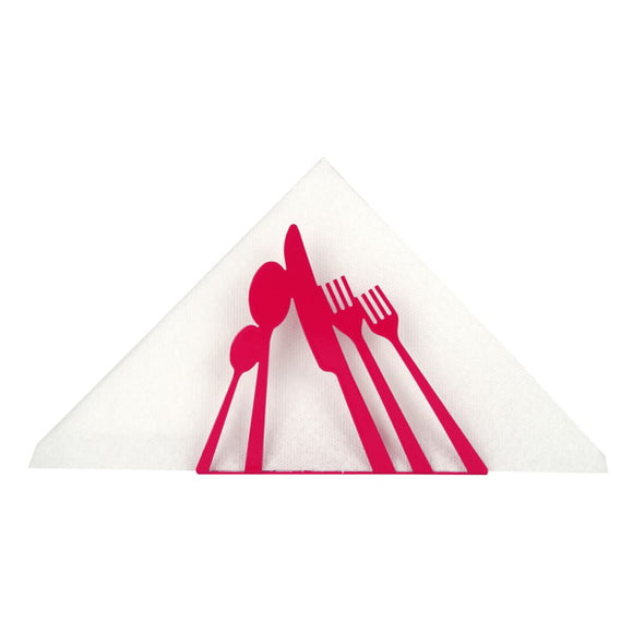 Red Metal 'Cutlery' Napkin Holder - Flamingo Boutique
