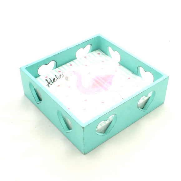 Turquoise Heart Napkin Box - Flamingo Boutique
