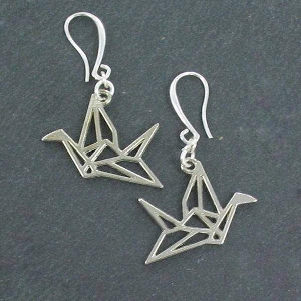Origami Bird Earrings In Silver Plate - Flamingo Boutique