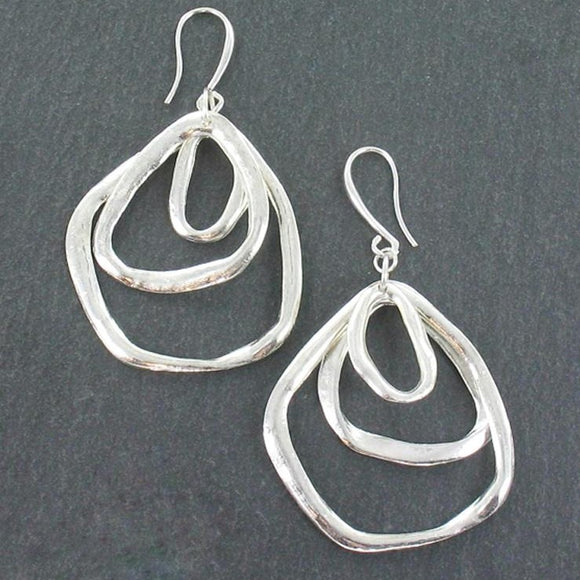 Triple Ring Earrings In Silver Plate - Flamingo Boutique