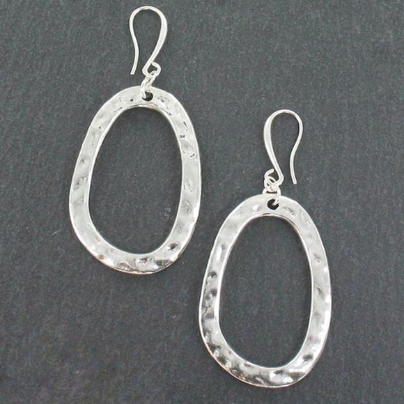 Large Oval Earrings In Silver Plate - Flamingo Boutique