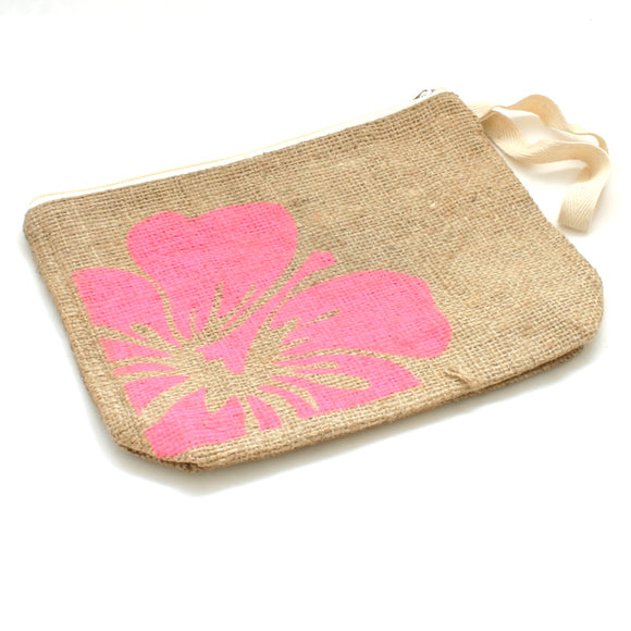 Flower Burlap Pouch - Flamingo Boutique