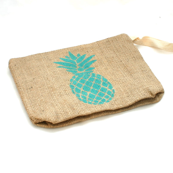 Pineapple Burlap Pouch - Flamingo Boutique