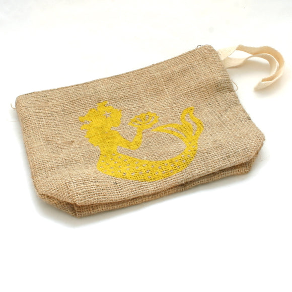 Mermaid Burlap Pouch - Flamingo Boutique