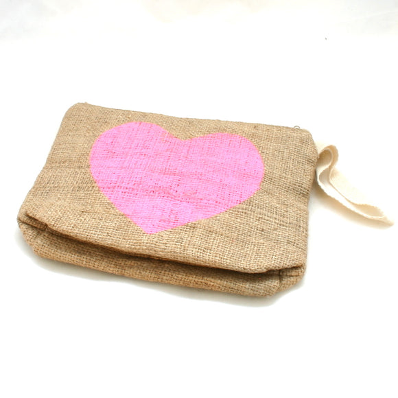 Heart Burlap Pouch - Flamingo Boutique