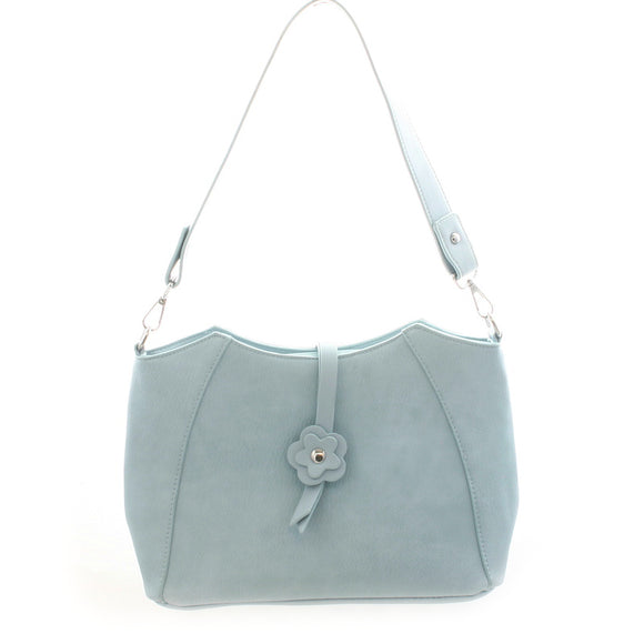 Pale Blue Purse With Flower - Flamingo Boutique