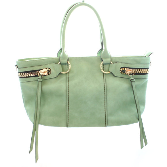 Pale Green Handbag With Zips & Tassel