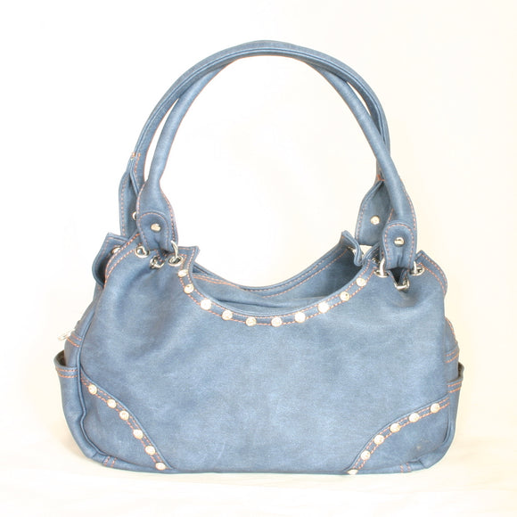 Denim Blue Purse With Crystals
