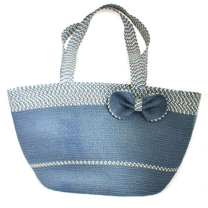 Blue Beach Bag With Flower - Flamingo Boutique