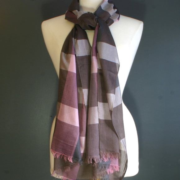 Pink & Brown Check Scarf - Flamingo Boutique