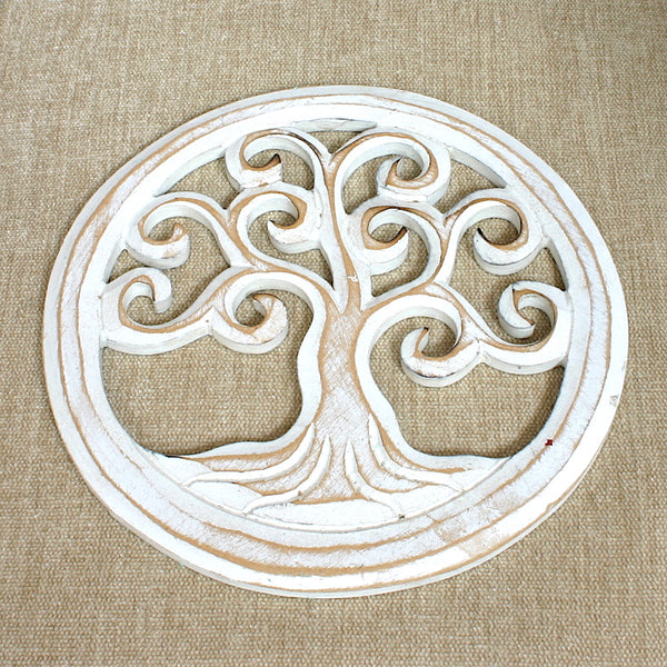 Round Wooden Tree Carving - Flamingo Boutique