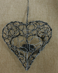 Hanging Grey Wire Heart T-Light Holder - Flamingo Boutique