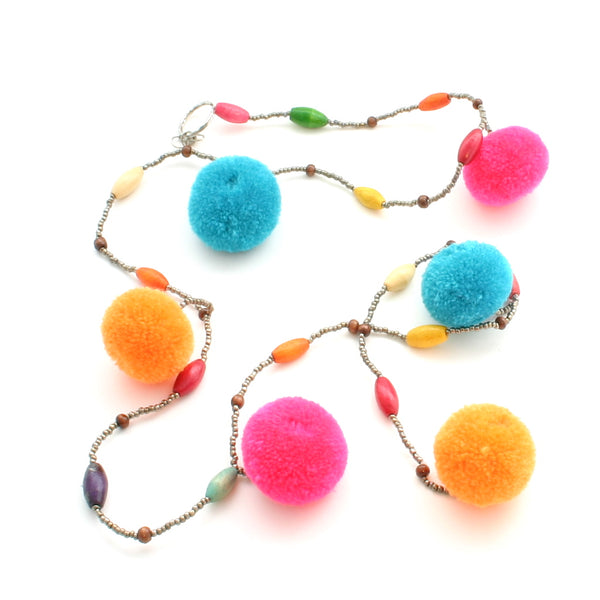 Handmade Bead & Pom Pom Garland - Flamingo Boutique