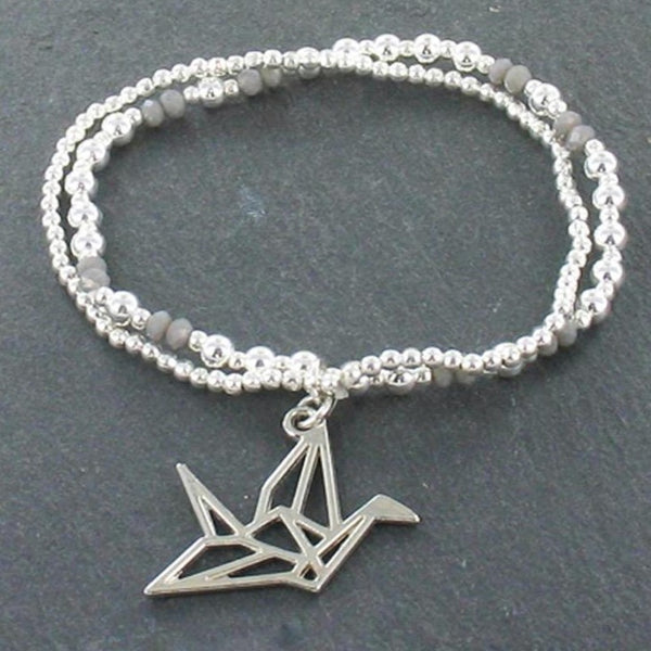 Double Strand Bracelet With Origami Bird Pendant In Silver Plate - Flamingo Boutique