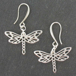 Dragonfly Charm Earrings In Silver Plate - Flamingo Boutique