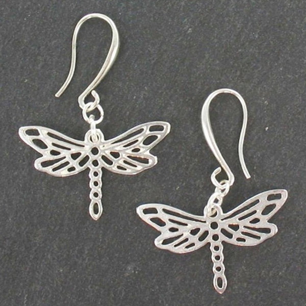 Dragonfly Charm Earrings In Silver Plate