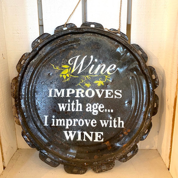 I Improve With Wine Tin Sign - Flamingo Boutique