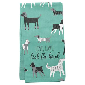Live Love Lick The Bowl Dog Tea Towel - Flamingo Boutique