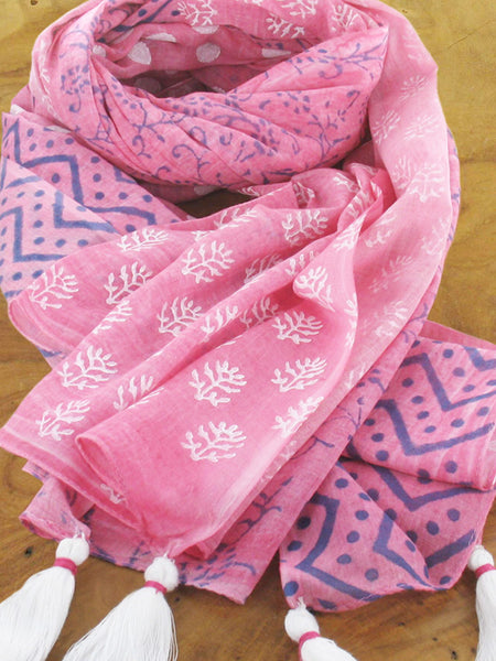 Block Printed Scarf With Four Quarter Design