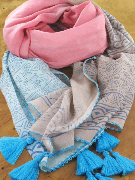 Block Printed Scarf With Mixed Ombre Colours