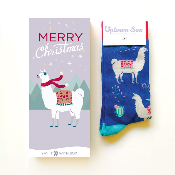 Merry Christmas Llama Card & Socks - Flamingo Boutique