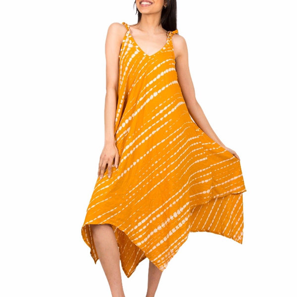 Yellow & White Tie Dye Handkerchief Dress