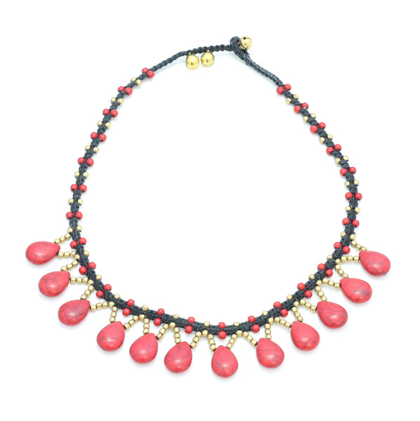 RED STONE DROP NECKLACE