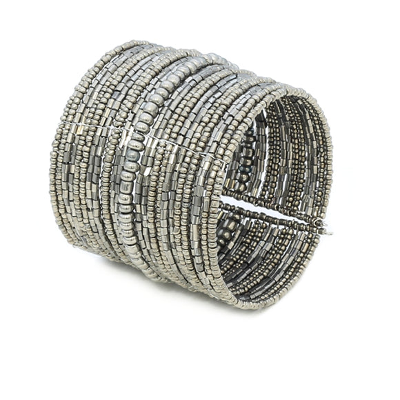 Wide Beaded Cuff - Flamingo Boutique