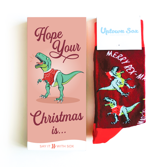 Hope Your Christmas Is... Dinosaur Card & Socks - Flamingo Boutique