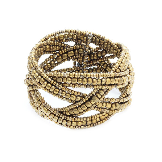 Braided Beaded Cuff - Flamingo Boutique