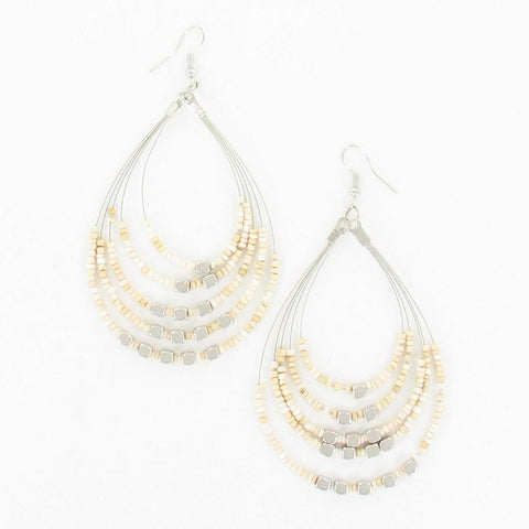BEADED HOOP EARRINGS WITH METALIC CUBES