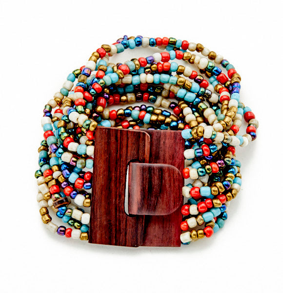 Multi-Strand Bracelet With Wooden Clasp - Flamingo Boutique