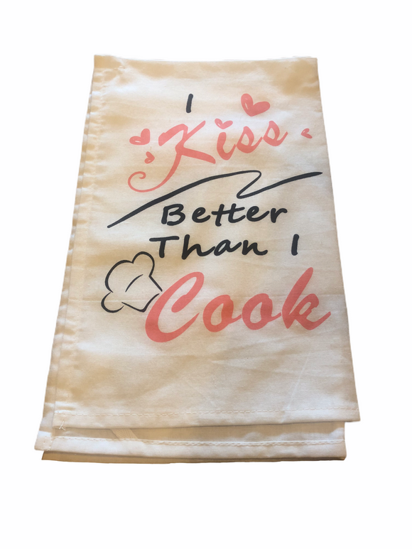 I Kiss Better Than I Cook Tea Towel - Flamingo Boutique