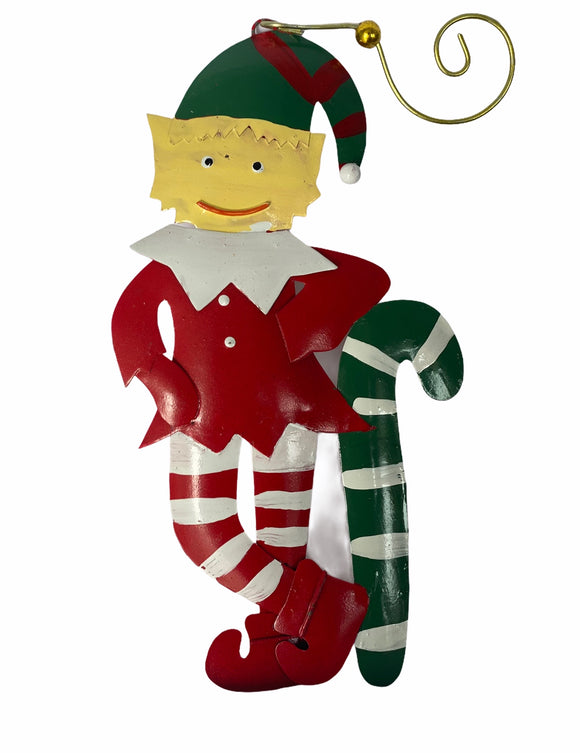 Elf With Cane Metal Christmas Tree Ornaments - Flamingo Boutique
