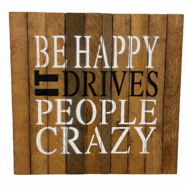 Be Happy Wooden Block Sign - Flamingo Boutique