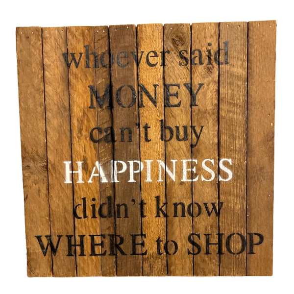 Can't Buy Happiness Wooden Block Sign - Flamingo Boutique