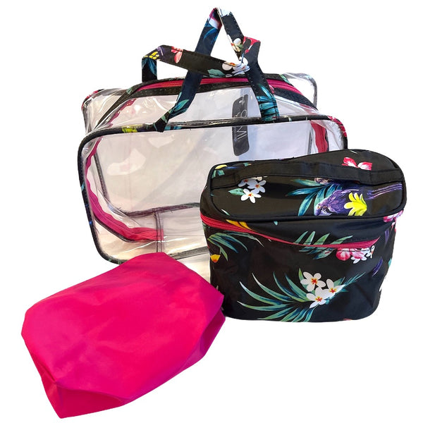3 In 1 Tropical Print Wash Bag