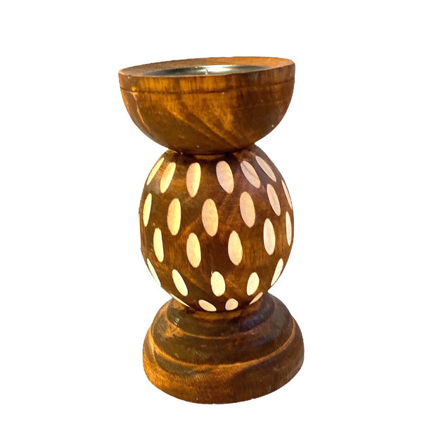 WOODEN BALL CANDLE STICK