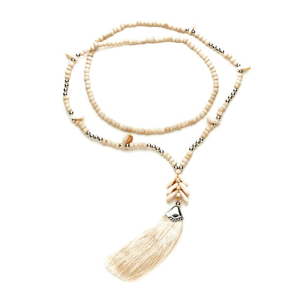 Wooden Bead Tassel Necklace With Shells