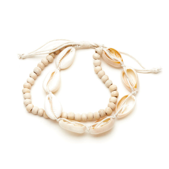 Wooden Bead & Shell Bracelet - Flamingo Boutique