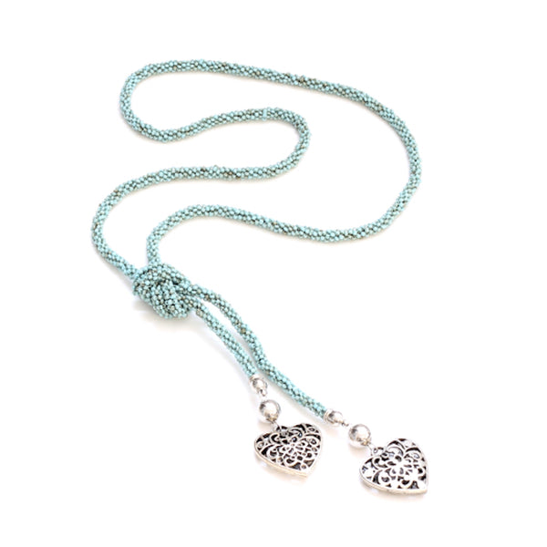 Long Beaded Necklace With Hearts - Flamingo Boutique