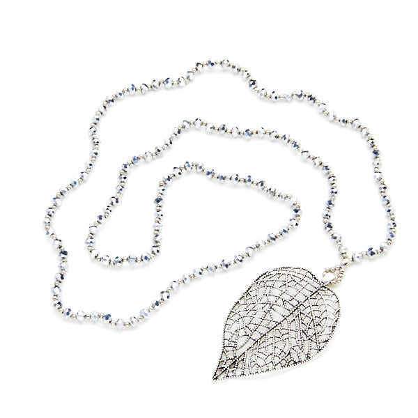 Crystal Bead Necklace With Filigree Leaf