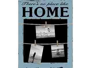 There's No Place Like Home Photo Clip Chalkboard - Flamingo Boutique