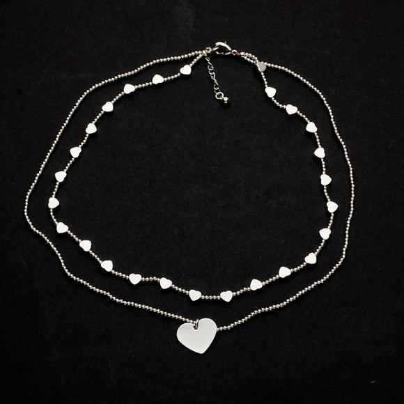 Double Strand Heart Charm Necklace in Silver Plate - Flamingo Boutique