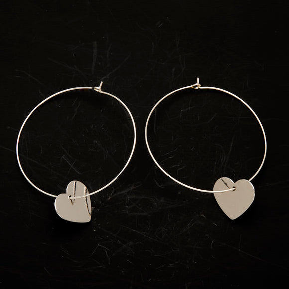 Heart On Hoop Earrings In Silver Plate - Flamingo Boutique
