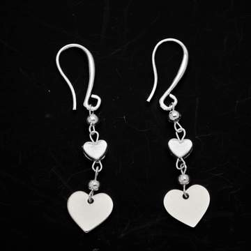 Double Drop Heart Earrings In Silver Plate - Flamingo Boutique