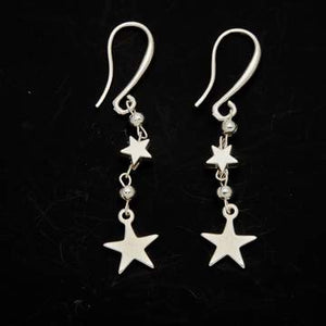 Double Drop Star Earrings In Silver Plate - Flamingo Boutique