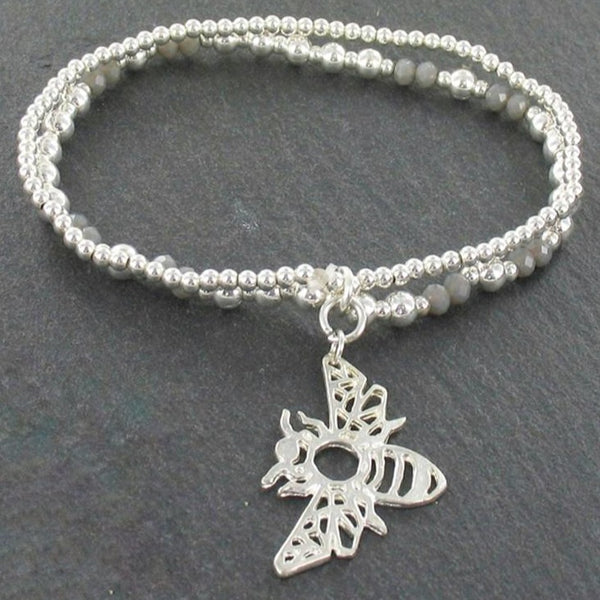 Double Strand Bracelet With Bee Pendant in Silver Plate - Flamingo Boutique