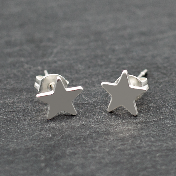 Small Star Silver Plate Stud Earrings
